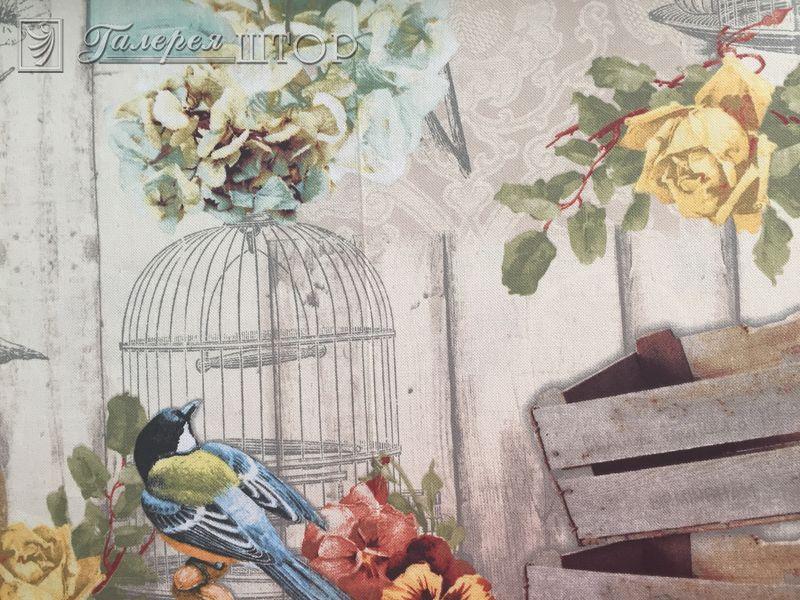 Портьерная ткань с флористическим рисунком